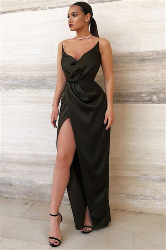 2020 Sexy Black V-Neck Sheath Evening Dresses | Side Slit Sheath Ruffles Prom Dress