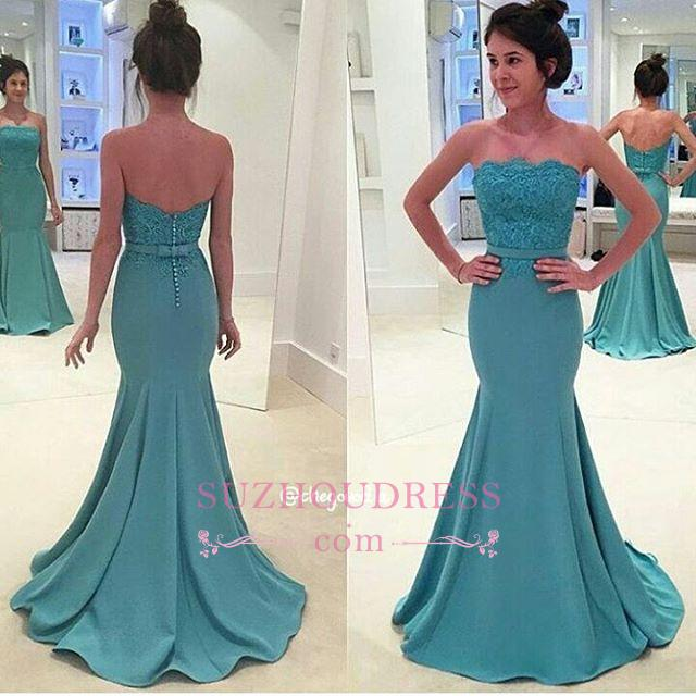 Sash Mermaid Long Green Lace Strapless Evening Gowns