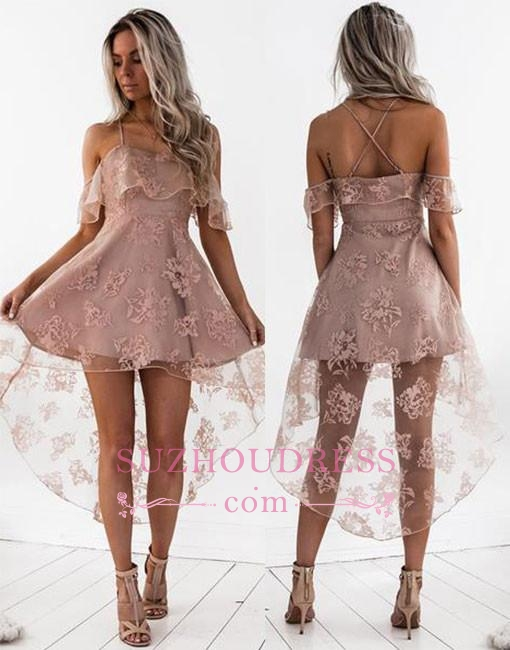 New Arrival Sexy Lace Cute A-line Short Hight-low Homecoming Dress BA7000