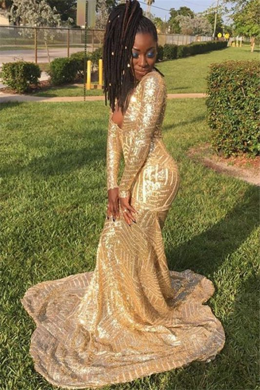 Gold Sequins V-Neck Prom Dresses   Newly Long-Sleeves Mermaid Prom Gown