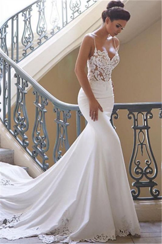 Sexy Spaghetti Straps Mermaid Wedding Dresses | 2020 Lace Cheap Bridesmaid Gowns Online