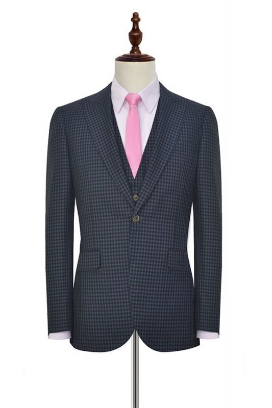 Newest Slim Fit Wool Small Grid Formal Men Wear | Custom One Button Three-piece Men Suits (Blazer Pants Vest)