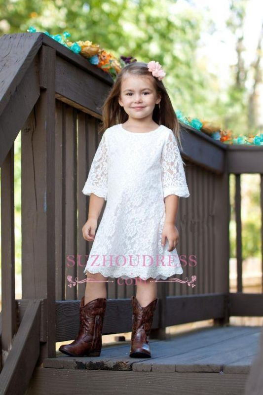 A-line White Cute Half Sleeve Knee Length 2020 Lace Flower Girl Dress