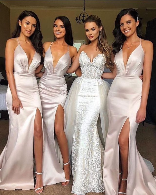 2020 Sexy Split Spaghetti Straps Bridesmaid Dress Cheap | Sheath Sleeveless V-neck Maid of Honor Dress BC0457