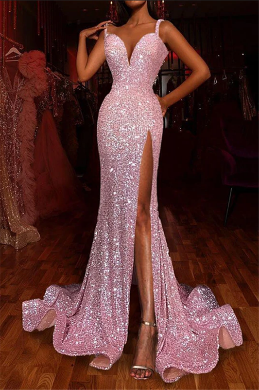 Sparkling Sequins Spaghetti Straps Prom Dress | Sexy Side Slipt Mermaid Evening Gowns 2020