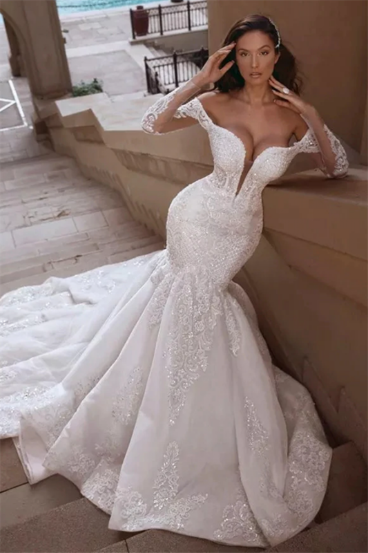 Cheap Off The Shoulder Mermaid Lace Wedding Dresses 2020 | Long Sleeve Sexy Bridal Dresses Online