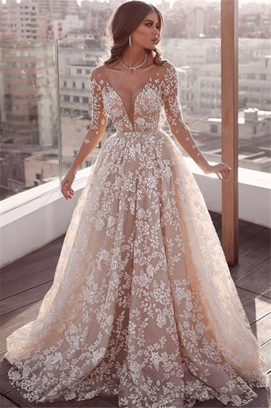 Long Sleeve Sheer Tulle Lace Wedding Dress Cheap 2020 | Champagne Pink Princess Outdoor Bridal Dress Online
