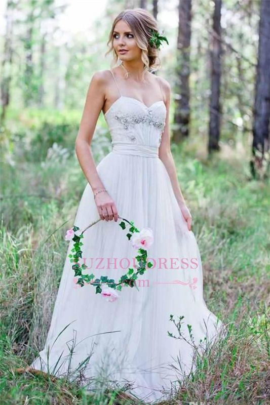 Spaghetti-Straps Cheap A-Line Tulle Simple Beadings Wedding Dress