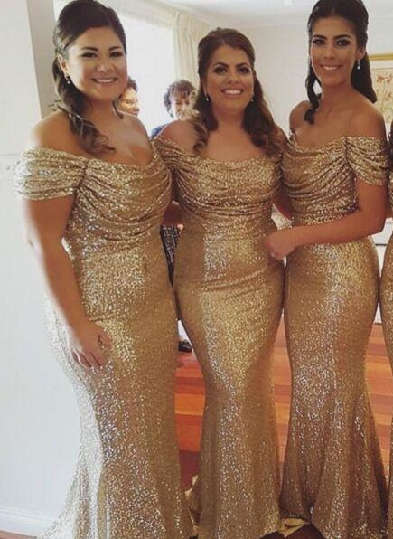 Off The Shoulder Gold Sequins Bridesmaid Dresses Mermaid Cheap Dresses for Maid of Honor BA3186