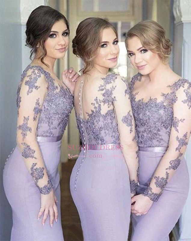Popular Buttons Cheap Appliques Mermaid Illusion Lavender Lace Long-Sleeve Bridesmaid Dress BA6632