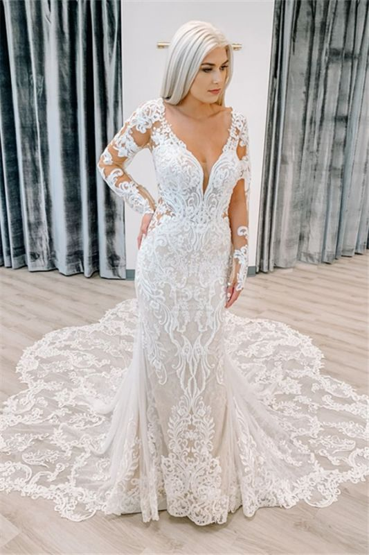 Mermaid Delicate Appliques Wedding Dresses cheap | V-neck Sheer Tulle Long Sleeve Bridal Gowns