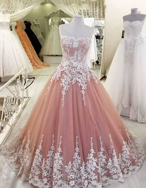 Strapless Pearl Pink Lace appliques 2020 Evening Dresses Ball Gown Tulle Prom Gowns