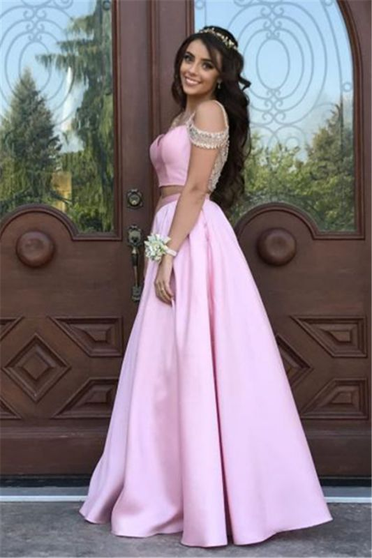 Pink Two Pieces Crystal Evening Dresses 2020 A-line Prom Dress