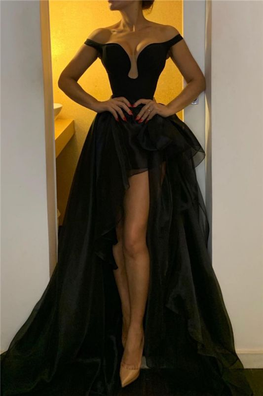 Sexy Off The Shoulder Black Prom Dresses | Overskirt Tulle Cheap Formal Evening Gowns 2020