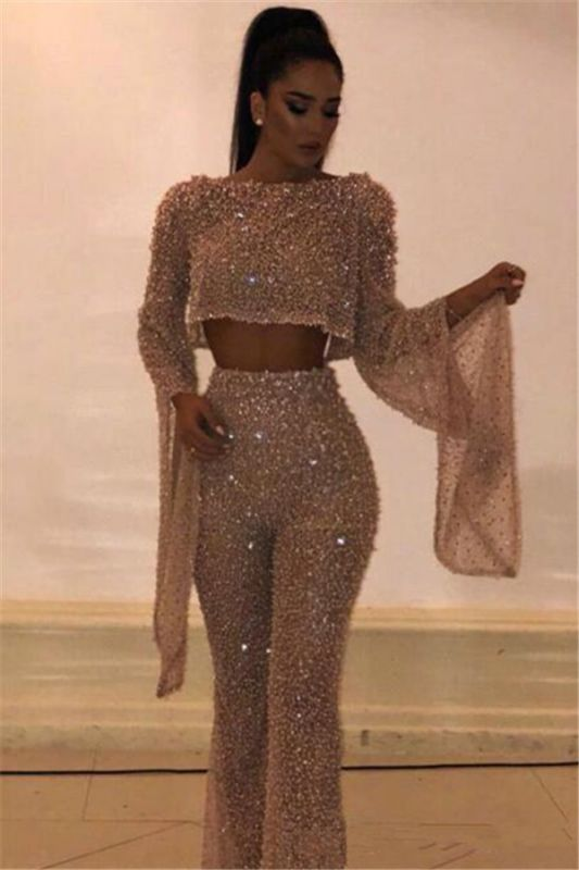 Sexy Beads Sequins Open Back Evening Dresses Luxury | 2020 Long Sleeves Jumpsuits Prom Dresses