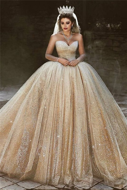 Luxury Champagne Gold Wedding Dresses 2020 | Sequins Princess Ball Gown Royal Wedding Dresses