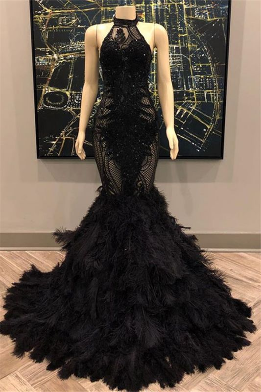 Lace Appliques Halter Feather Prom Dresses | Sleeveless Sexy Mermaid Evening Gowns