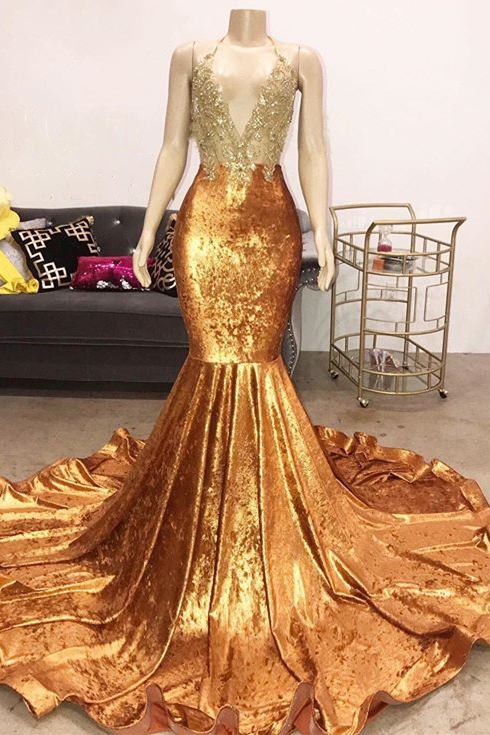 Luxury Beads Appliques Gold Prom Dresses 2020 | Mermaid Open Back Sexy Evening Gowns Cheap
