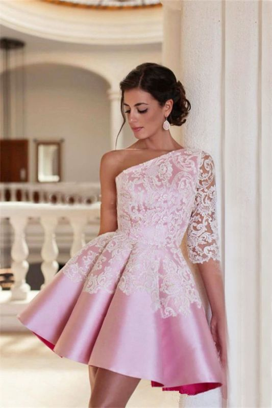 One Shoulder Half Sleeve Mini Homecoming Dress A-Line Pink Lace 2020 Cocktail Gowns