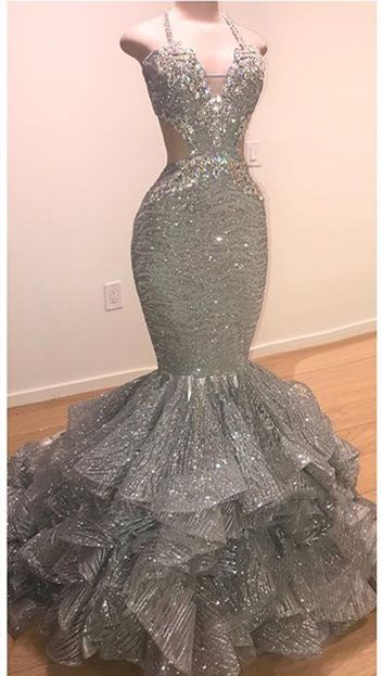 Spaghetti Straps Open Back Silver Grey Prom Dresses | Mermaid Tiered Ruffles Sexy Formal Dresses Cheap