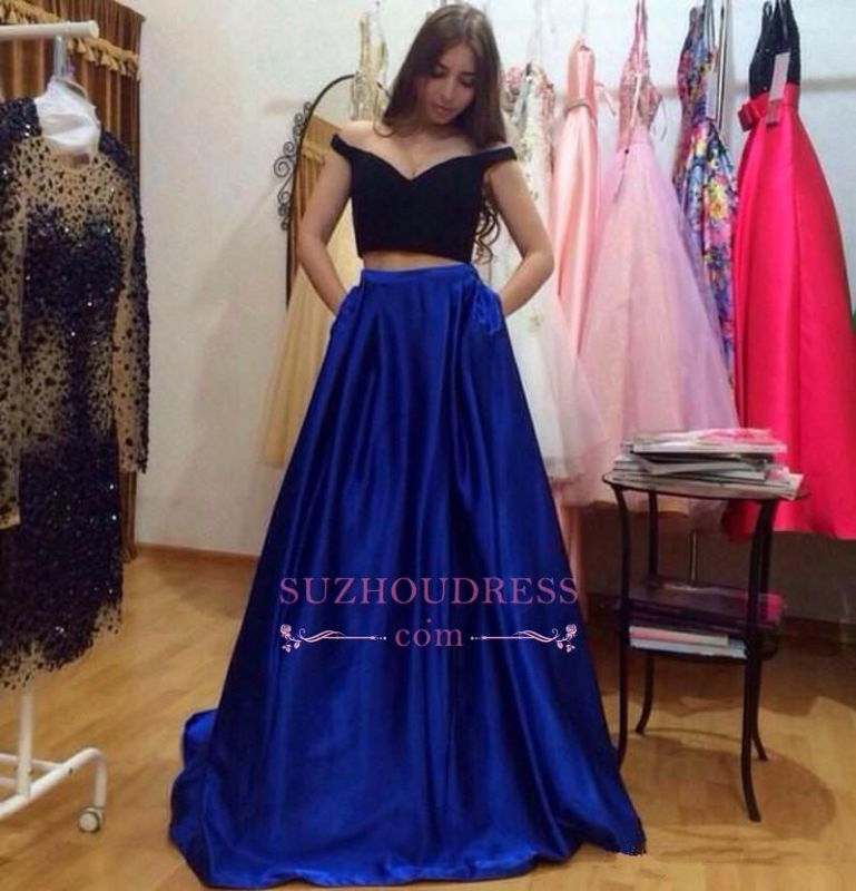 Glamorous Off-the-Shoulder Two-Pieces A-Line Pockets Prom Dresses
