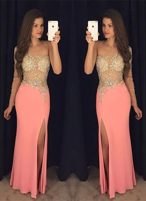 Sexy Sheath One Shoulder Crystal Prom Dresses 2020 Side Slit Evening Gowns BA7760