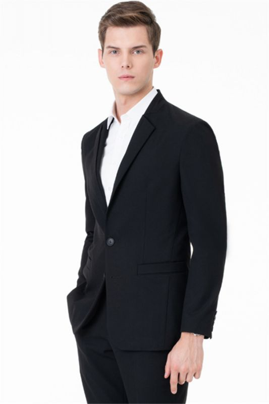 Black Two Button Slim Fit Suit | 2020 Classic Wedding Groom Tuxedos
