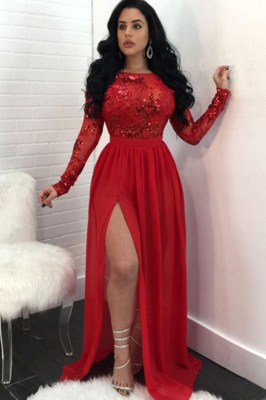 Sexy Long Sleeves Appliques Prom Dresses 2020 | Open Back Side Slit Sequined Evening Dress SK0181