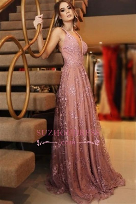 Sexy Pink Spaghetti Straps Evening Dresses | Long Lace Appliques Backless Prom Dresses