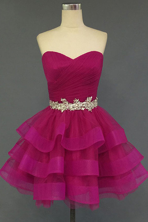 Sweetheart Crystal Fuchsia Mini 2020 Cocktail Dresses Tiered Lace-up Short Homecoming Gowns