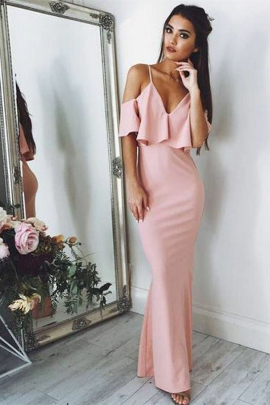 Sexy Pink Evening Dresses Cheap 2020 | Floor Length Spaghetti Straps Formal Dresses