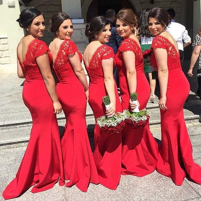 Red V-Neck Sexy Mermaid Long Bridesmaid Dresses Cheap Lace Plus Size Wedding Dress for Women
