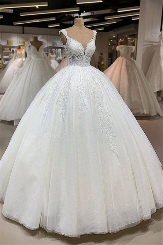 Elegant V-neck Appliques Ball Gown Wedding Dresses | Shimmery Sleeveless Bridal Gowns