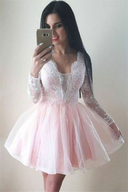 2020 Long Sleeves Pink Homecoming Dresses   Lace A-line Short Homecoming Dress