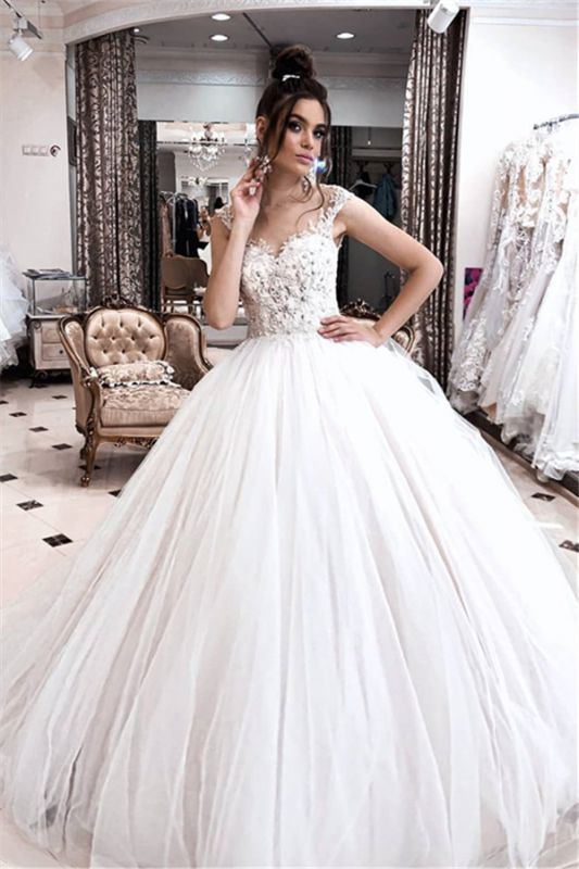 Exquisite Spaghetti-straps Lace Wedding Dresses | Appliques Puffy Tulle Princess Bridal Dresses