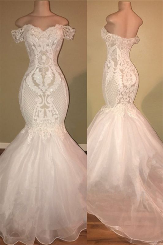 Off The Shoulder Lace Appliques Prom Dresses Cheap | Open Back Sexy Wedding Dresses Online 2020 bc1326