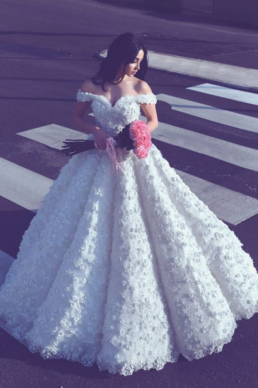 3D Lace Appliques Off The Shoulder Wedding Dresses | Princess Ball Gown Sexy Wedding Dress