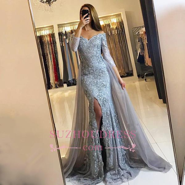 Sweetheart Lace Appliques Evening Gowns 2020 Newest Front Split Long Sleeve Mermaid Prom Dress -BA6240