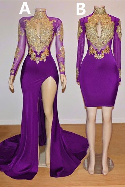Gold Beads Appliques Long Sleeve Purple Prom Dresses on Mannequins Cheap 2020