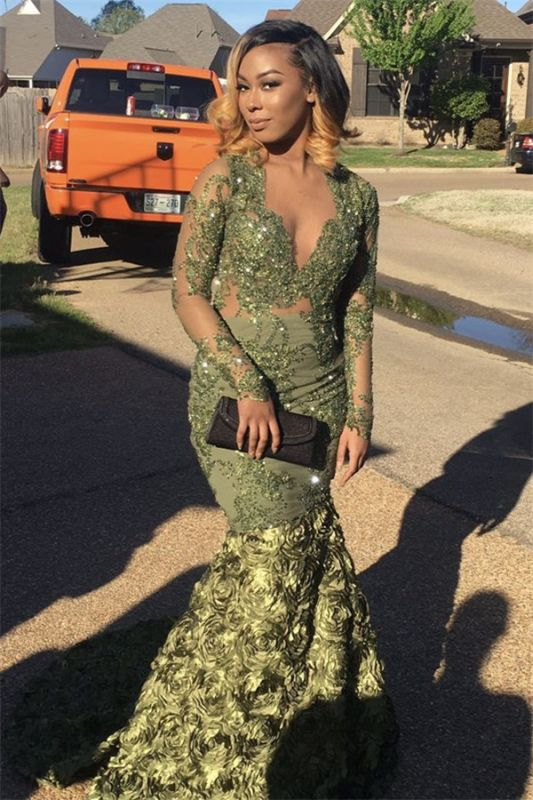 2020 Prom Dresses with Long Sleeves | Green Mermaid V-Neck Evening Dresses SK0123