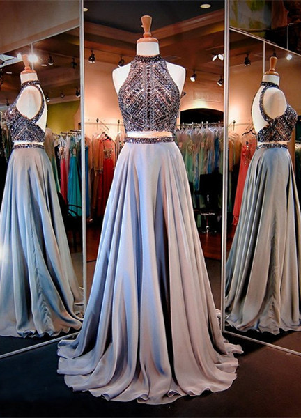 High-Neck Gorgeous A-line Crystals Two-Piece Evening Dress