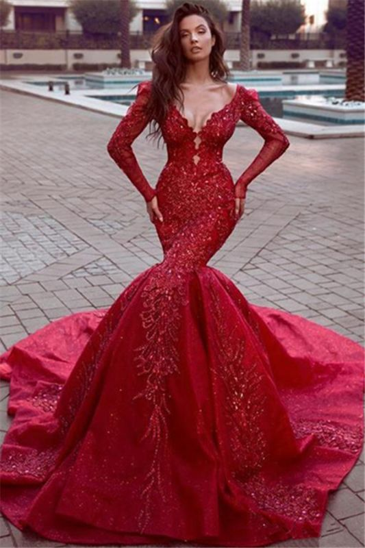 Glamorous Long Sleeves Mermaid Evening Dresses | 2020 Backless Lace Crystal Prom Dresses BC0669