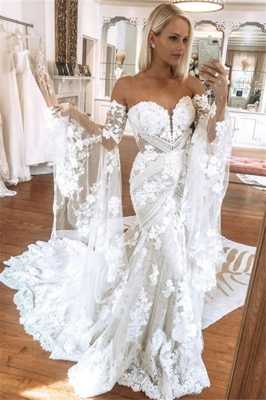 Strapless Lace Bell Sleeve Wedding Dresses | Mermaid Sexy Bridal Gowns Online