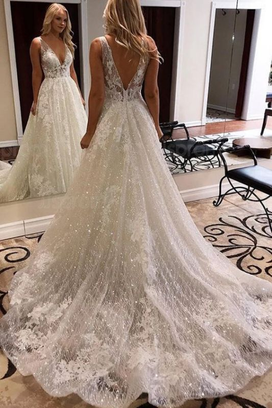 Sparkling V-neck Lace Appliques Wedding Dresses | Sexy A-line Backless Straps Bridal Gowns