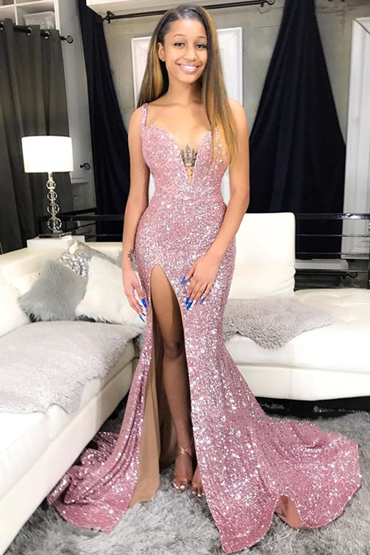 Sequins Pink Prom Dresses Cheap 2020 | Mermaid Sexy Slit Formal Evening Gowns Long