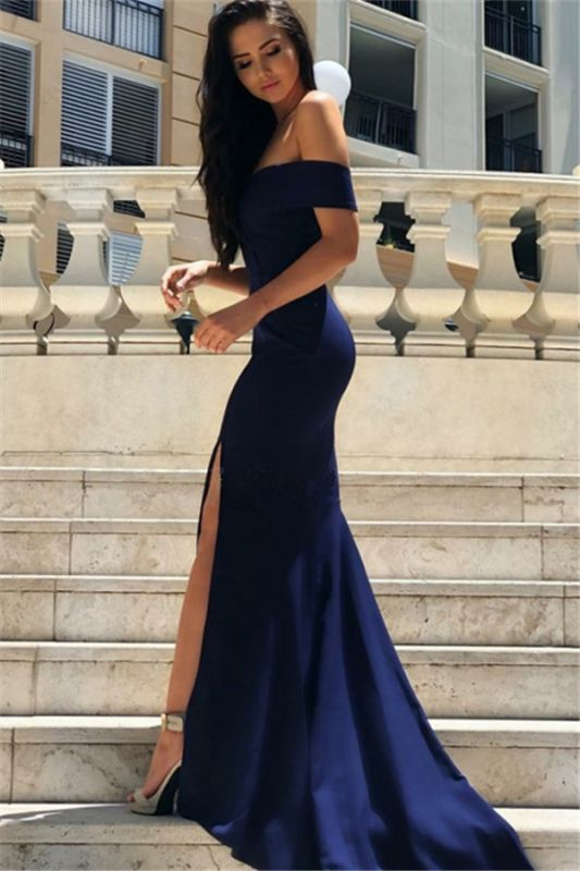 Sexy Simple Sheath Side Slit Evening Dresses   2020 Off the Shoulder Cheap Ball Dresses