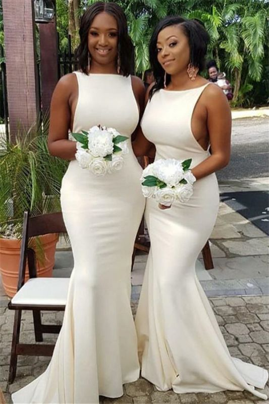 Sleeveless Sexy White Bridesmaid Dress | Cheap Mermaid Maid of Honor Dress 2020