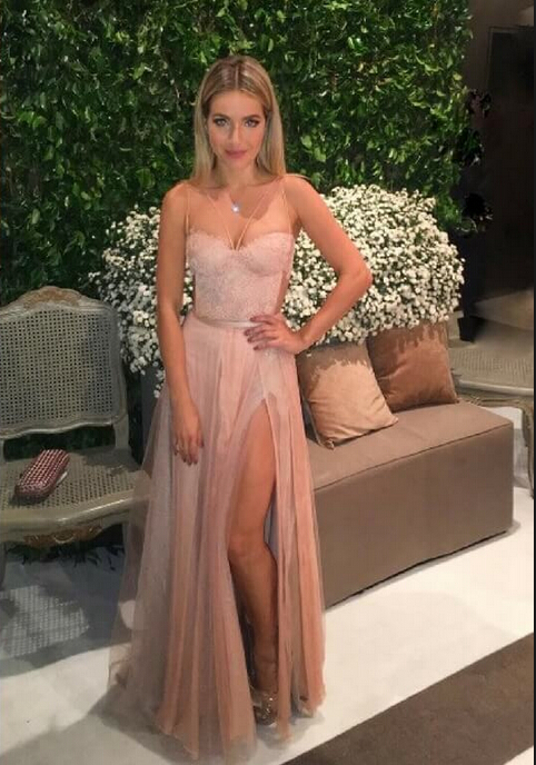 Pink Spaghetti Straps Tulle Backless Side Split Prom Dresses Lace Sexy 2020 Party Dress BA5058
