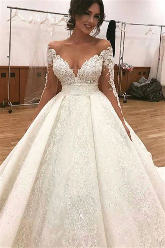 Elegant Lace Long Sleeves Wedding Dresses | Ball Bridal Gowns with Beadings