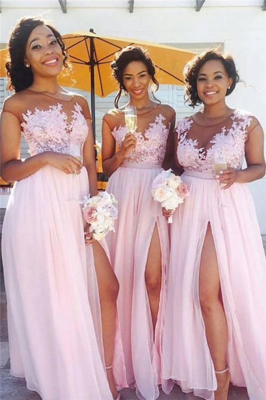 Pink Lace Chiffon Sexy Bridesmaid Dresses 2020 Splits Long Dress for Maid of Honor Online BA6919